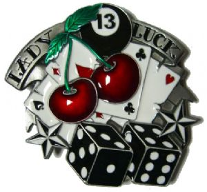 Lady Luck - Dice and Cherries - Belt Buckle + display stand. Code OC7